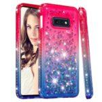 Rhinestone Decor Gradient Glitter Powder Quicksand TPU Phone Cover for Samsung Galaxy S10e – Red/Blue