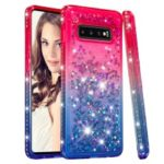 For Samsung Galaxy S10 Plus TPU Case Rhinestone Decor Gradient Glitter Powder Quicksand Cover – Red/Blue