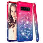 Rhinestone Decor Gradient Glitter Powder Quicksand TPU Phone Case for Samsung Galaxy S10 – Red/Blue