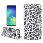 Leopard Pattern Wallet Stand Leather Cover for Samsung Galaxy S10 Plus – White