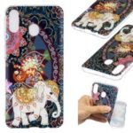 Pattern Printing TPU Mobile Case Shell for Samsung Galaxy M20 – Flower and Elephant