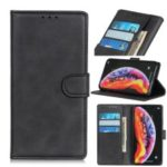 Matte PU Leather Wallet Stand Mobile Case for Samsung Galaxy M10 – Black