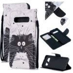 For Samsung Galaxy S10 Pattern Printing Wallet Stand Case with Strap – Black and White Cat