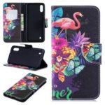 Pattern Printing Leather Wallet Case for Samsung Galaxy M10 – Crane and Flowers