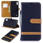 For Samsung Galaxy M10 Assorted Color Jeans Cloth Wallet Leather Cover Shell – Black