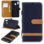 Assorted Color Jeans Cloth Wallet Leather Case for Samsung Galaxy M20 – Black