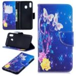 Pattern Printing Leather Wallet Stand Case for Samsung Galaxy M20 – Elegant Butterflies