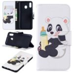 Pattern Printing Wallet Leather Stand Case for Samsung Galaxy M20 – Panda Holding a Bottle