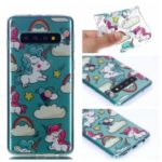 Pattern Printing TPU Protection Mobile Phone Shell for Samsung Galaxy S10 – Cloud and Unicorns