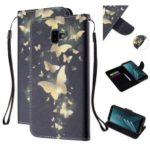 Pattern Printing Magnetic Leather Stand Case for Samsung Galaxy J6+ – Gold Butterfly