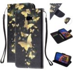 Pattern Printing Magnetic Leather Stand Case for Samsung Galaxy J4+ – Gold Butterfly