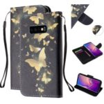 Pattern Printing Leather Wallet Stand Case for Samsung Galaxy S10e – Gold Butterfly