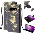 For Samsung Galaxy S10 Patterned Wallet Leather Cell Phone Cover with Strap – Gold Butterfly