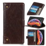 Nappa Texture Wallet Stand Leather Phone Cover for Samsung Galaxy A50 – Coffee