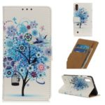 Pattern Printing Leather Wallet Case for Samsung Galaxy A10 – Blue Tree