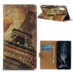 Pattern Printing Wallet Stand Leather Shell for Samsung Galaxy M10 – Eiffel Tower and Maple Leaves