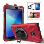 Samsung Galaxy Tab Active 2 8.0 T395/T390 [X-Shape] PC + TPU Combo Case with Kickstand, Hand Strap and Shoulder Strap – Red