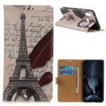 Pattern Printing Flip Stand Leather Case for Samsung Galaxy M20 – Eiffel Tower and Quill-pen