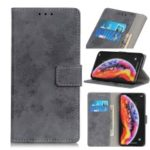 Vintage Style Wallet PU Leather Stand Phone Case for Samsung Galaxy A10 – Grey