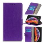Crazy Horse Leather Wallet Stand Case for Samsung Galaxy A40 – Purple