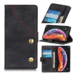 Jeans Cloth Wallet Stand Leather Phone Case for Samsung Galaxy A40 – Black