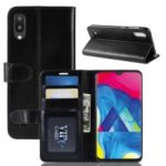 Crazy Horse [Wallet Stand] Leather Phone Shell for Samsung Galaxy M10 – Black