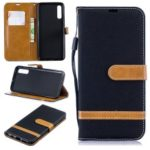 Assorted Color Jeans Cloth Wallet Stand Leather Shell for Samsung Galaxy A50 – Black