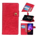 S-shape Crazy Horse Texture Leather Wallet Case for Samsung Galaxy A50 – Red