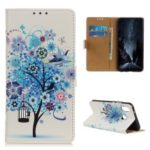 Pattern Printing Wallet Leather Stand Case for Samsung Galaxy A40 – Blue Tree