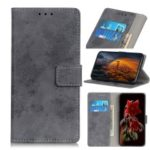 Vintage Style PU Leather Wallet Stand Cover for Samsung Galaxy A40 – Grey