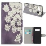 Pattern Printing Leather Wallet Case for Samsung Galaxy S10 – White Flowers