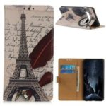 Pattern Printing Leather Wallet Case for Samsung Galaxy S10 5G – Eiffel Tower and Characters