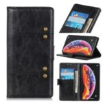 Rivet Decorated Leather Stand Wallet Magnetic Case for Samsung Galaxy A50 – Black