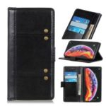 Rivet Decor Crazy Horse Leather Wallet Phone Cover for Samsung Galaxy A50 – Black