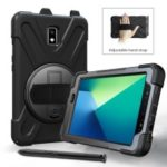 [X-Shape] PC + Silicone Combo Tablet Case for Samsung Galaxy Tab Active 2 8.0 T395/T390 with Pen Holder, Kickstand and Hand Strap – Black