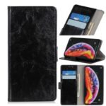 Crazy Horse Leather Wallet Stand Case for Samsung Galaxy A30/A20 – Black