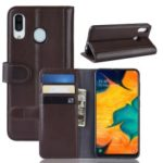 Split Leather Wallet Stand Mobile Phone Case Accessory for Samsung Galaxy A30 – Brown