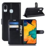 Litchi Skin PU Leather Wallet Stand Mobile Casing for Samsung Galaxy A30 – Black