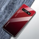 Gradient Glass TPU + PC Phone Protective Cover for Samsung Galaxy S10 – Red