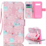 For Samsung Galaxy S10 Plus Pattern Printing Wallet Leather Case with Stand – Elephant
