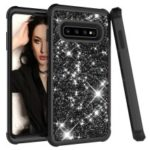 Glitter Powder Coated PC Silicone Shockproof Hybrid Case for Samsung Galaxy S10 Plus – All Black