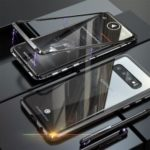 Magnetic Metal Frame + Tempered Glass Back Cell Phone Case for Samsung Galaxy S10 – Black