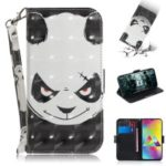 Pattern Printing PU Leather Mobile Phone Case with Card Slots for Samsung Galaxy M20 – Angry Panda