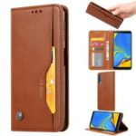 Auto-absorbed Classic PU Leather Cell Phone Case for Samsung Galaxy A70 – Brown