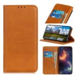 Auto-absorbed Split Leather Wallet Stand Case Shell for Samsung Galaxy S10 Plus – Brown