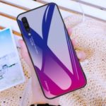[Gradient Color] Glass + TPU + PC Phone Case Accessory for Samsung Galaxy A50 – Dark Blue / Purple