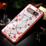SULADA Electroplating Rhinestone Decoration Patterned PC Phone Case for Samsung Galaxy S10 – Red