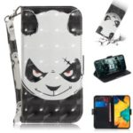 Pattern Printing [Light Spot Decor] Leather Wallet Case for Samsung Galaxy A30 – Angry Panda