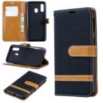 Assorted Color Jeans Cloth Wallet Leather Case Cover for Samsung Galaxy A40 – Black