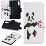 For Samsung Galaxy A70 Pattern Printing PU Leather Stand Phone Cover – Panda Playing Football